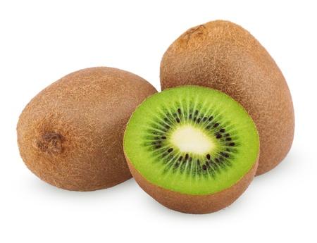 Ripe kiwi fruits with half isolated on white background photo