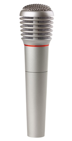 Metallic microphone isolated on a white background photo