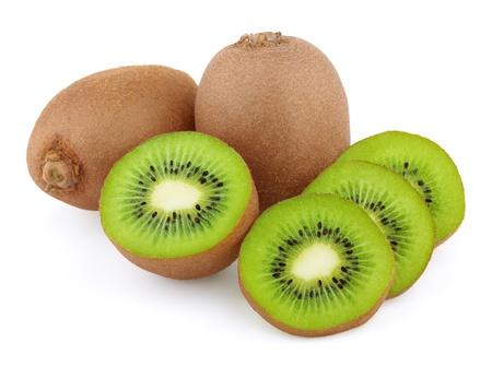 Ripe kiwi fruits with slices isolated on white background photo