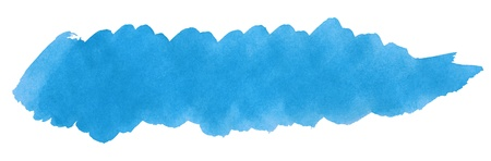 Blue stroke of watercolor paint brush isolated on white photo