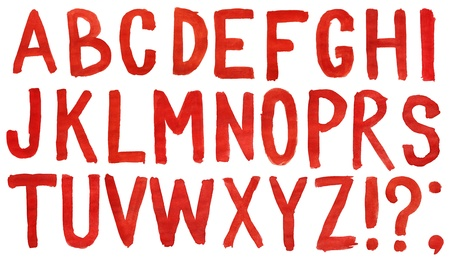 Hand painted red watercolor alphabet isolated on white photo