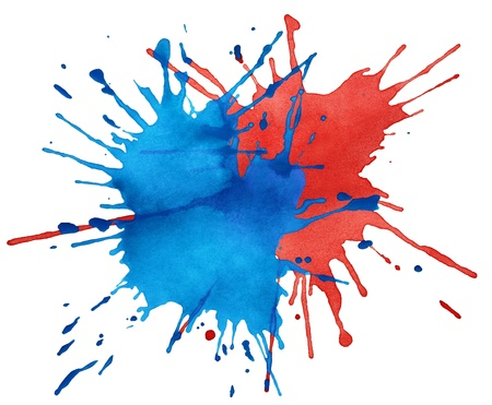 Blot of blue and red watercolor isolated on white photo