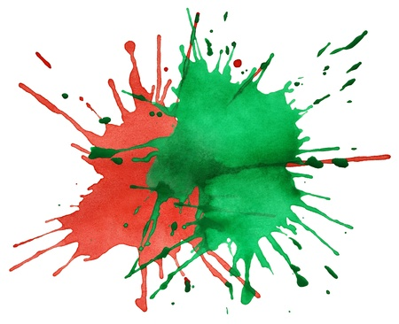 Red and green blots of watercolor paint isolated on white photo
