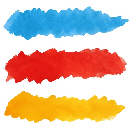 Set of colorful strokes of watercolor paint brush isolated on white Stock Photo - 13619023