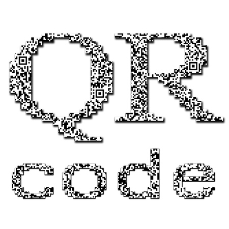 qr: QR code textured text isolated on white Stock Photo