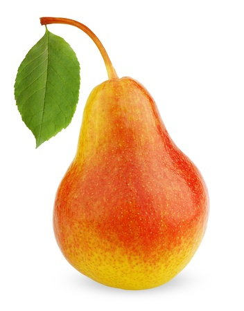 Ripe red-yellow pear fruit with leaf isolated on white background photo