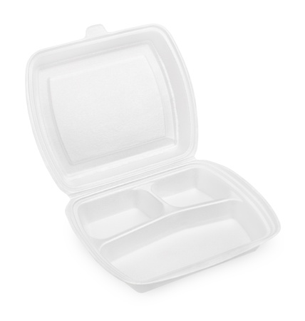 Empty Polystyrene meal box isolated on white background