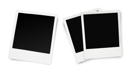 black picture frame: Blank old photo frames isolated on white background