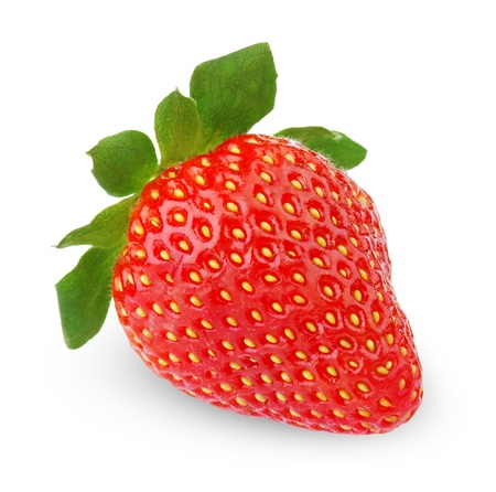 Single strawberry fruit isolated on white background photo