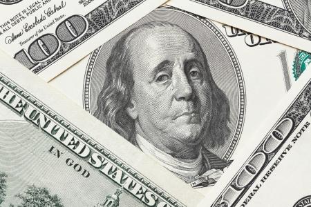 saddened: Concept of economical crisis - saddened Franklin cry on the hundred dollar bill Stock Photo