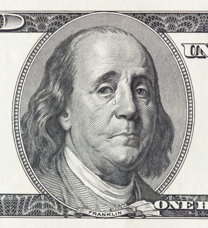 benjamin franklin: Concept of financial crisis - crying president Franklin on the hundred dollar bill Stock Photo