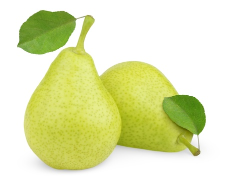 Sweet green yellow pears with leaves isolated on white photo