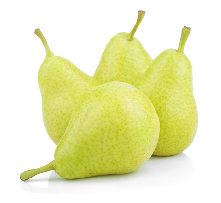 Sweet green yellow pears isolated on white photo