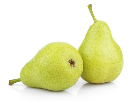 Ripe green yellow pears isolated on white photo