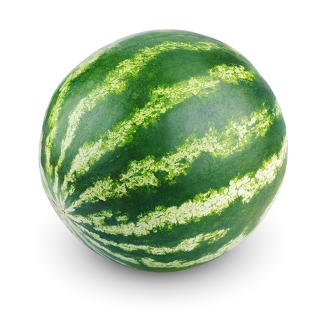 Single sweet watermelon isolated on white background
