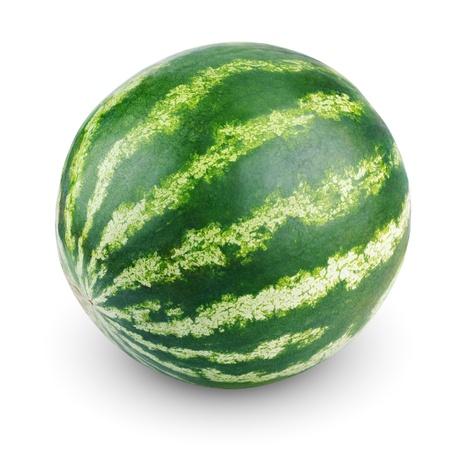 melon: Single sweet watermelon isolated on white background Stock Photo