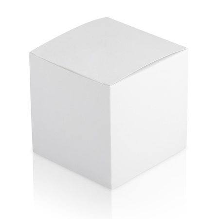 Closed cardboard box isolated on white background Stock Photo