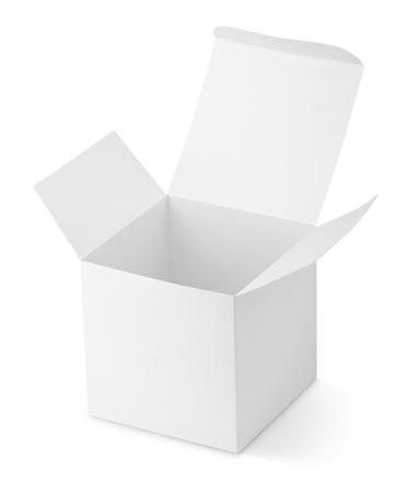 cajas de carton: Cart�n Caja abierta aislada en el fondo blanco
