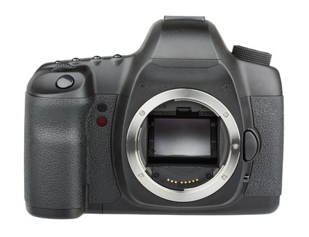 reflex: Modern digital SLR 35mm camera without lens isolated on white