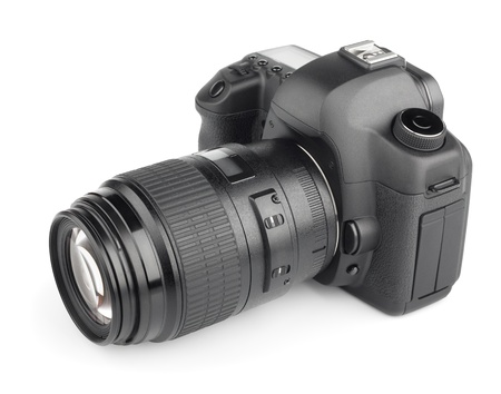 35mm: Modern digital SLR 35mm camera isolated on white