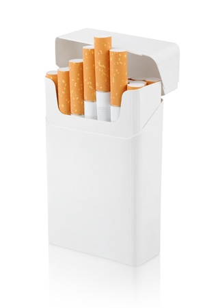 Open pack of cigarettes stands vertically on white photo
