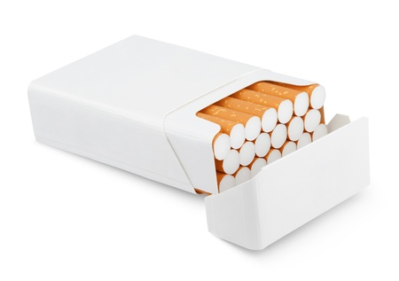Open pack of cigarettes isolated on white with clipping path photo