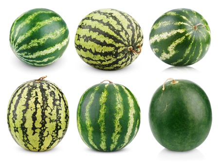 water melon: Set of watermelon fruits isolated on white background
