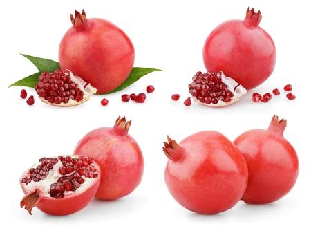 Set of ripe pomegranate fruit isolated on white background