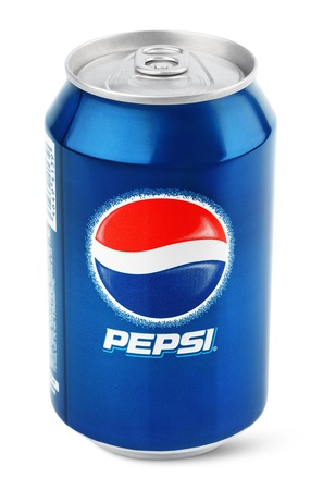 Aluminum can of Pepsi Cola produced by PepsiCo Inc. isolated on white background with clipping path Editorial