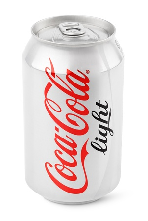 Aluminum can of Coca-Cola Light produced by the Coca-Cola Company isolated on white background with clipping path