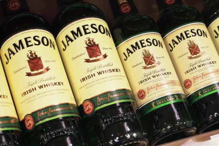 Closeup of various bottle of Jameson Irish Whiskey in market Stock Photo - 17402302