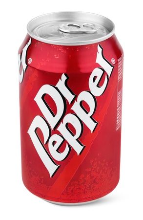 manufactured: Closeup of aluminum red can of Dr Pepper isolated on white background with clipping path. Dr. Pepper is now manufactured by the Dr Pepper Snapple Group, Inc. Editorial