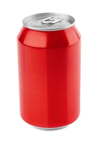 can: Red aluminum can 330 ml isolated on white with clipping path