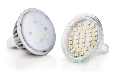 Closeup of newest LED light bulbs isolated on white with clipping path photo