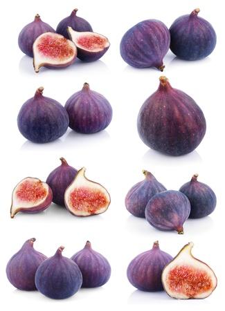 fichi: Set di molti frutti di fico isolati su sfondo bianco Archivio Fotografico