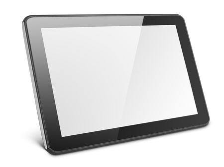 Modern black tablet pc isolated on white with clipping path photo