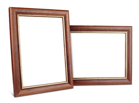 Two simple wooden picture frames isolated on white with clipping path photo