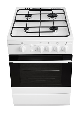 Modern white gas cooker isolated on white with clipping path photo