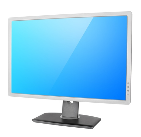 clipping  path: Professional computer monitor with blue screen isolated on white background with clipping path