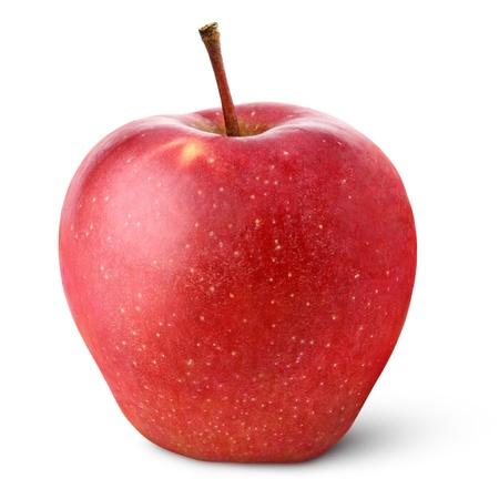 pomme rouge: Seule pomme rouge isol� sur blanc avec chemin de d�tourage Banque d'images