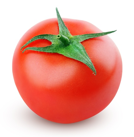 Single fresh red tomato isolated on white with clipping path