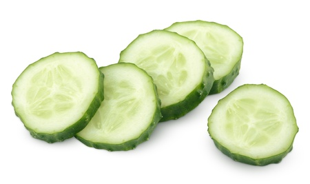 cucumber slice: Slice of green cucumber vegetable isolated on white with clipping path