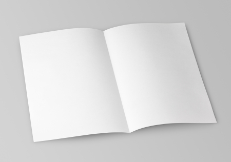 Blank folded flyer isolated on gray with clipping path photo