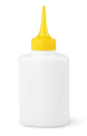 resistol: Botella de aceite o pegamento aislado en blanco con trazado de recorte