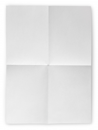 Folded Blank Sheet of Paper isolated on white with clipping path photo