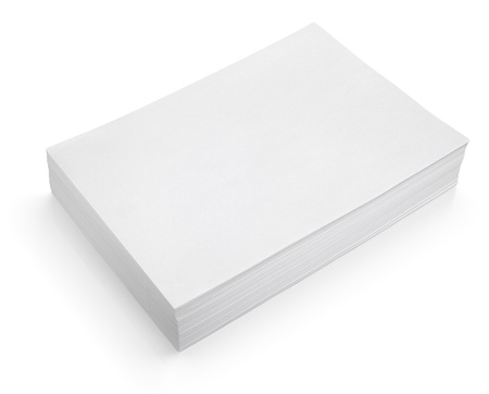 Stack of white paper isolated on white