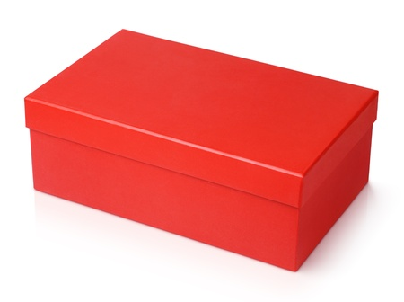 Red shoe box isolated on white  photo