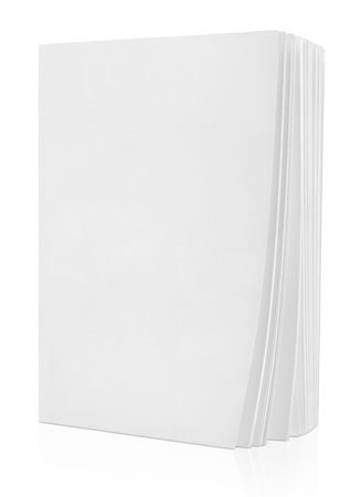 magazine page: Blank white book isolated on white