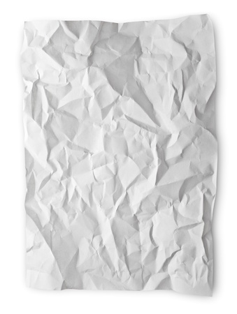 Crumpled paper isolated on white with clipping path photo