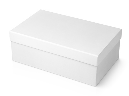 White shoe box isolated on white with clipping path photo